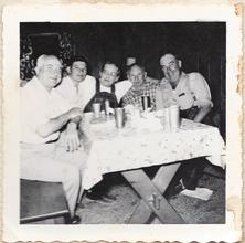 L-R George Wess, Unknown, Mrs. Esther Kap, Unknown, Mr. Clarence Kap at Rich Bar, Feather River Canyon, California