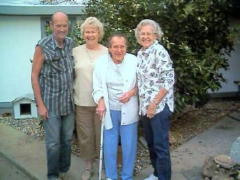 November 21, 2002, Bill Anderson, Elva Anderson, Fairabelle Penland (Anderson) and Ester Anderson in Oroville, CA at Fairabelle's House